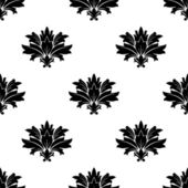Black silhouette foliate motif in a seamless pattern — Vecteur