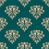 Pretty green retro floral motif wallpaper design — Stock Vector