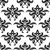 Modern foliate black and white arabesque pattern — Vecteur