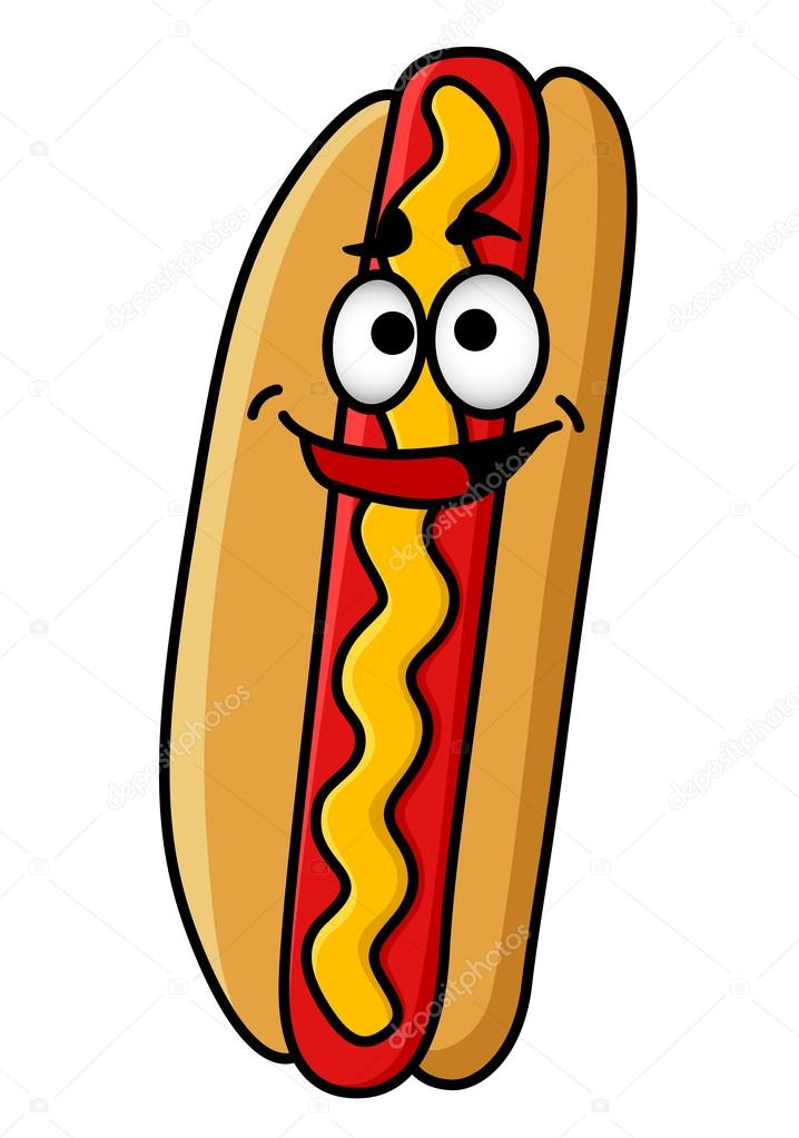 Happy Dog Face Cartoon Appy Hot Dog With Moustard With a Smiling Face Standing Upright