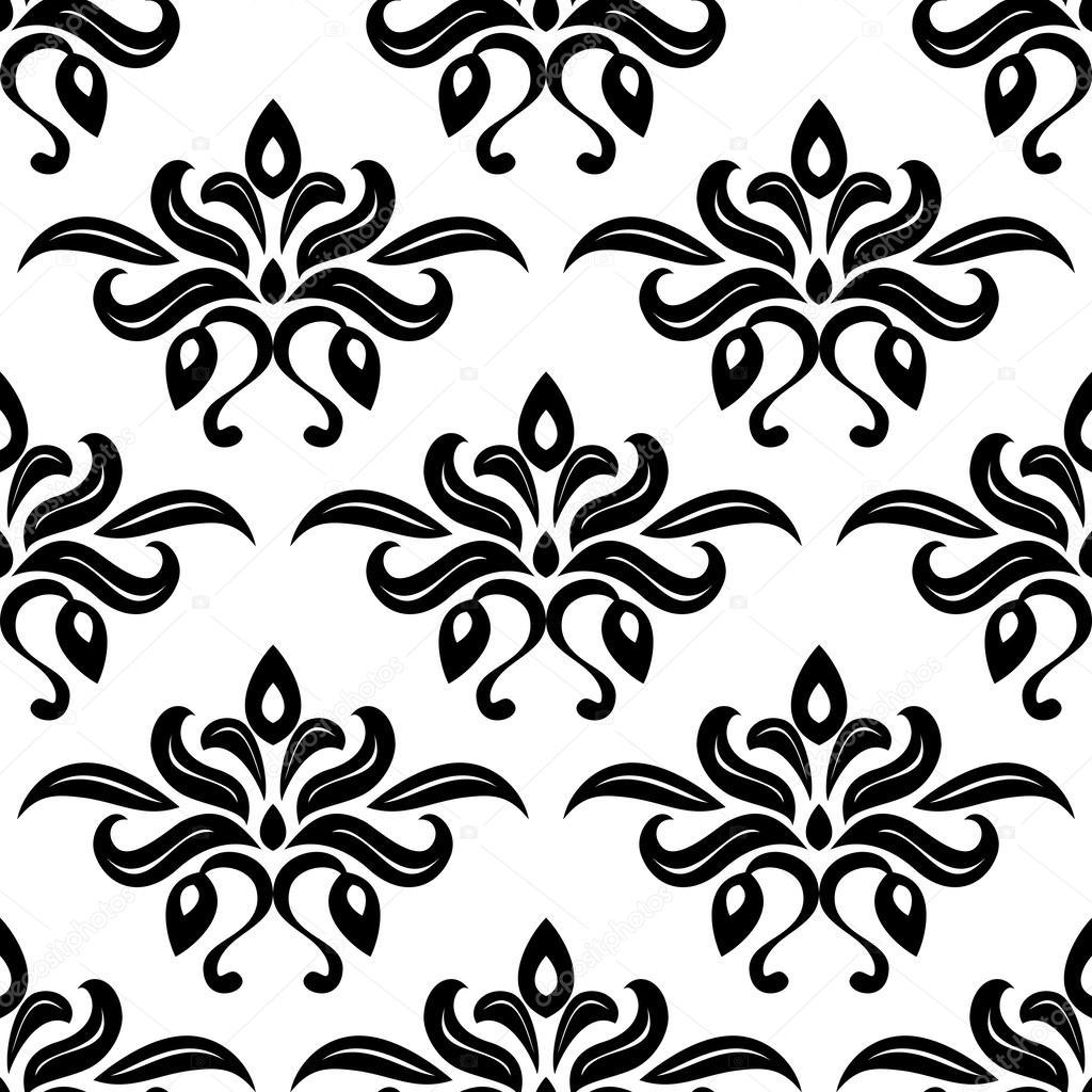 Patr n moderno foliadas arabesco blanco y negro vector - Papel de pared blanco y negro ...