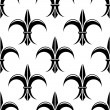 Stock Vector: Black and white fleur de lys seamless pattern