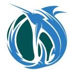 Marlin fishing icon — Stock Vector