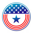 Patriotic American stars and stripes button — Stock Vector