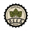 Natural royal beer icon or bottle cap design — Stock Vector #40954909