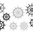 Nautical ships wheels — Stock Vector