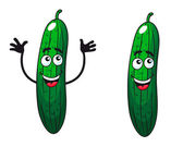 Comic happy green cucumbers and gherkins — Stock Vector