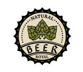 Natural royal beer icon or bottle cap design — Stock Vector