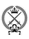Koninklijke embleem met gekruiste zwaarden — Stockvector