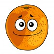 Stock Vector: Juicy ripe cartoon orange with cheeky grin