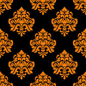 черный и оранжевый бесшовный цветочный фон — Cтоковый вектор