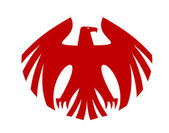 Fierce red eagle heraldic silhouette — Stock Vector