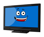 Cheeky smiling cartoon TV or monitor — Stockvector