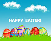 Colourful Happy Easter greeting card design — Stockvector