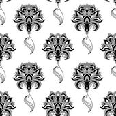 Caligráfico vintage floral patrón sin costuras — Vector de stock