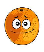 Juicy ripe cartoon orange with a cheeky grin — Stockvector