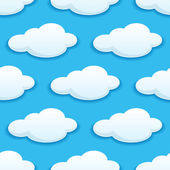 Seamless pattern of white fluffy clouds — Stock Vector