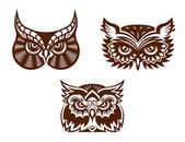Collection of wise old owl faces — Stock Vector