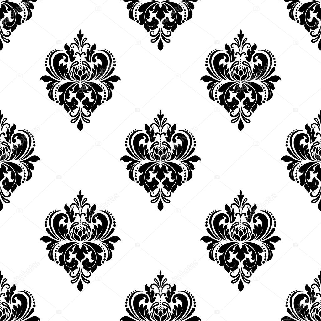 Floral seamless arabesque pattern with damask motifs for Arabesque style decoration