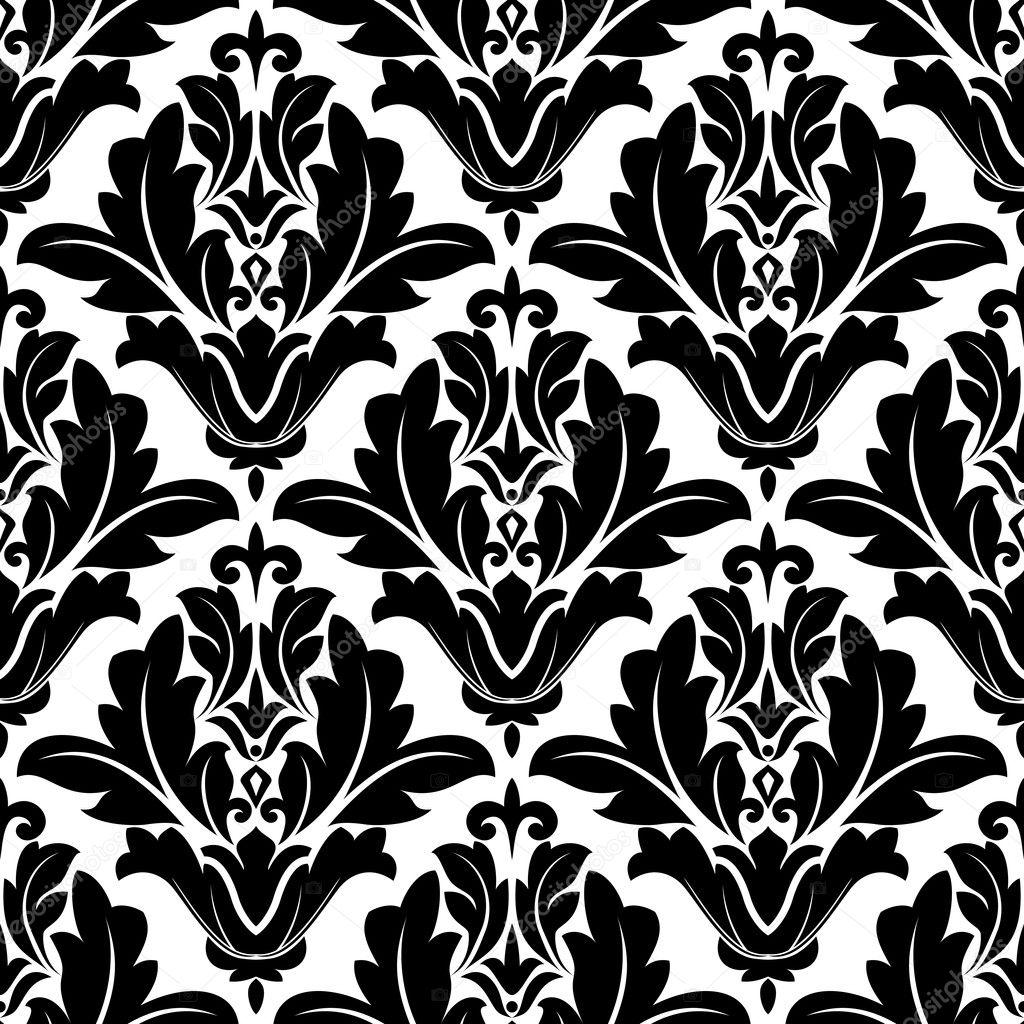 Bold Black And White Arabesque Pattern Design Stock