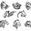 Horse head tribal tattoos — Stock Vector #41887327