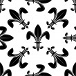 Seamless fleur de lys pattern in black and white — Stock Vector