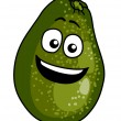 Happy ripe green cartoon avocado pear — ストックベクタ