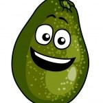Happy ripe green cartoon avocado pear — Stock Vector