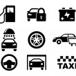 Black and white car service icons — Stock Vector