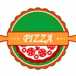 Pizza icon or label — Stock Vector