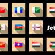 Stock Vector: Set of flat flag icons of Eastern countries