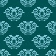 Turquoise blue damask style seamless pattern — Stock Vector