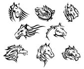 Horse head tribal tattoos — Stock Vector