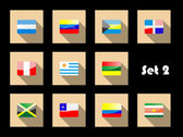 International country flags set on flat icons — Stock Vector