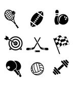 Black and white sporting icons — Stock Vector