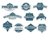 Labels set denoting Premium Quality — Stock Vector