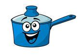 Laughing happy blue cartoon cooking saucepan — Stock Vector