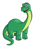 Adorable green cartoon dinosaur mascot — Wektor stockowy