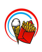 Fast foods icon with crispy French fries and ice cream — Stock Vector