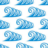 Seamless pattern of curling blue ocean waves — Stockvector