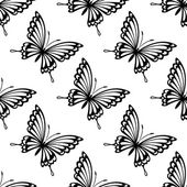 Seamless pattern of flying butterflies — Stock Vector