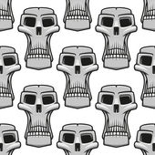 Seamless pattern of spooky Halloween skulls — Stock Vector