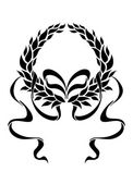 Foliate laurel wreath with long trailing ribbons — Vecteur