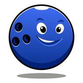 Happy colourful blue cartoon bowling ball — Stock Vector