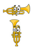 Two variations of a cartoon trumpet — Stock Vector