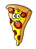 Slice of happy cheesy pepperoni pizza — Stock Vector