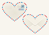Heart shaped heart airmail envelope — Stock Vector