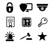 Safety and security icons set — Stock Vector