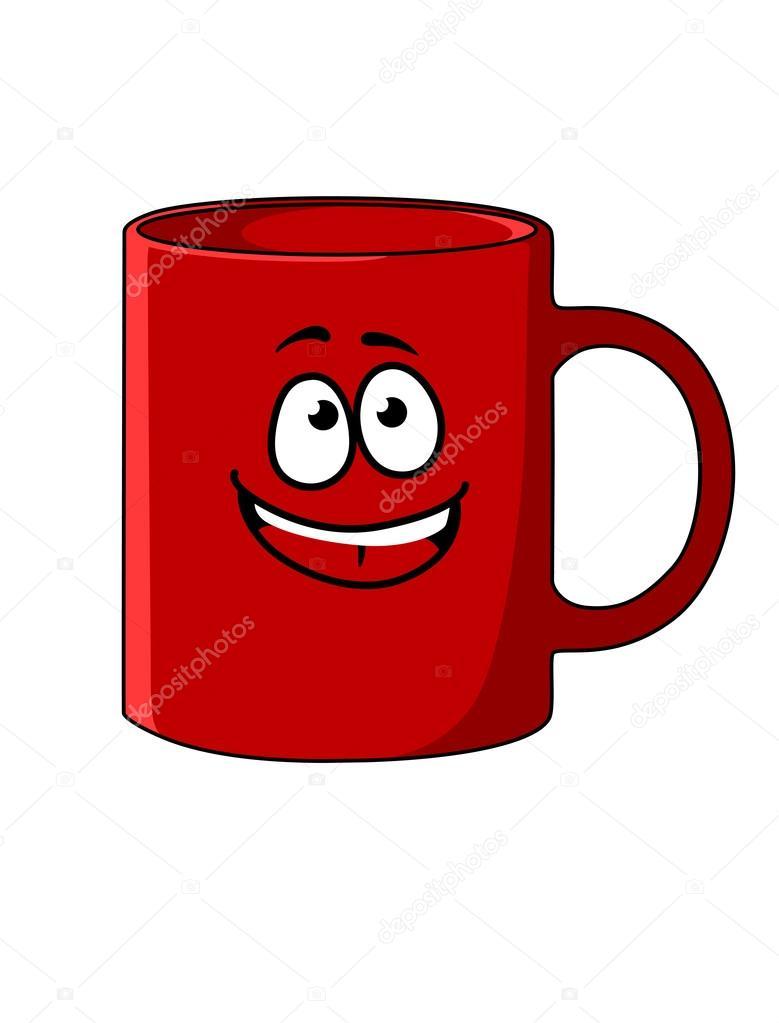 Taza de café con una cara feliz de dibujos animados rojo ...