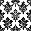 Stock Vector: Bold foliate arabesque motif in black and white